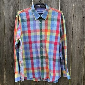 Alan Flusser XXL Multi Colored Check Dress Shirt